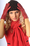 Attractive Blonde in Winter Clothes Royalty Free Stock Photography