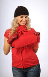 Attractive Blonde in Winter Clothes Stock Image