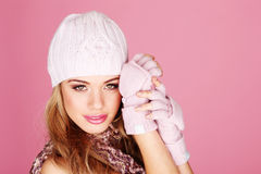Attractive Blonde In Winter Outfit Royalty Free Stock Photo