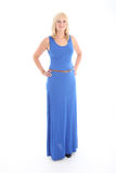 Attractive blonde woman in blue dress Royalty Free Stock Photography