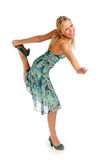 Attractive blonde woman in blue patterned dress Royalty Free Stock Images