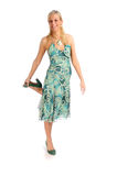 Attractive blonde woman in blue patterned dress Royalty Free Stock Photos