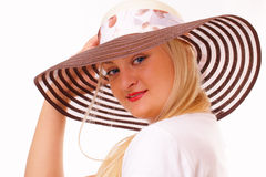 Attractive blonde woman in a hat Royalty Free Stock Photos
