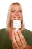 Attractive Blonde Woman Holds Energy Saving Light Stock Images