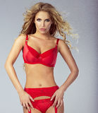 Attractive blonde woman in lingerie. Stock Photography