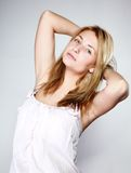 Attractive blonde woman with no make up Stock Image