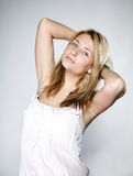 Attractive blonde woman with no make up Stock Photo