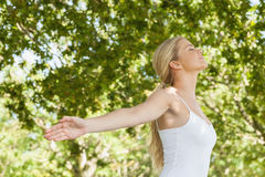 Attractive blonde woman practicing yoga in a park Royalty Free Stock Photos