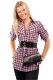 Attractive blonde woman with purse Stock Photography