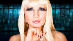 Attractive blonde woman with strong make up Royalty Free Stock Photos