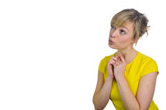 Attractive Blonde Woman Thinking Royalty Free Stock Image