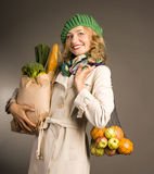 Attractive blonde woman with vegetables Royalty Free Stock Photo