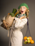 Attractive blonde woman with vegetables Stock Photo