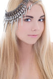 Attractive blondie woman with necklace on her head Royalty Free Stock Images