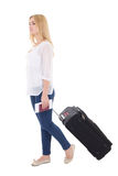 Attractive blondie woman with suitcase, passport and ticket isol Stock Photo