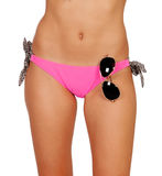 Attractive body with pink swimwear and a sunglasses Stock Photography
