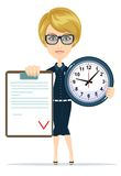 Attractive bookkeeper with folder and clock over. White. Women in Business vector illustration