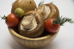 Attractive bowl of mushrooms Royalty Free Stock Photo