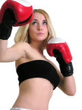 Attractive boxer woman in low angle view Stock Photo