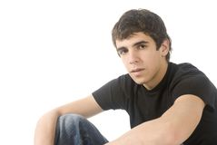 Attractive boy. Attractive eighteen year old teen boy in casual over white background Stock Photo