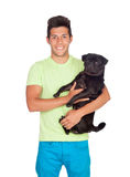 Attractive boy with her pug dog. Isolated on white background Royalty Free Stock Images