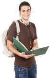 Attractive boy student. A over white background Royalty Free Stock Photography
