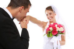 Attractive Bride and Groom at Wedding Stock Image