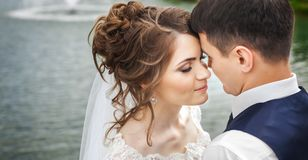 Attractive bride and groom near the lake Royalty Free Stock Photography