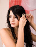 Attractive bride indoors Royalty Free Stock Image