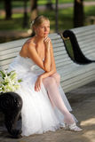 Attractive bride looking pensive Royalty Free Stock Image
