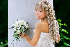 Attractive bride outdoors portrait Royalty Free Stock Photo