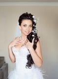 Attractive bride posing indoor Stock Images