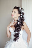 Attractive bride posing indoor Royalty Free Stock Photos