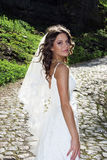 Attractive bride with a veil poses Royalty Free Stock Photos