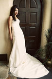 Attractive bride wearing beautiful dress Stock Photography