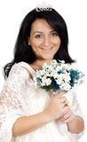 Attractive bride wearing white dress Royalty Free Stock Image