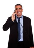 Attractive broker laughing on phone Royalty Free Stock Photography