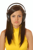 Attractive brown hair girl listening to music Royalty Free Stock Photo