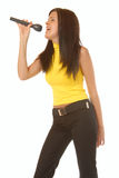 Attractive brown hair girl singing on microphone Stock Photography