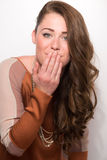 Attractive Brown  Hair Model Blows Kiss Royalty Free Stock Image