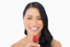 Attractive brown haired model holding strawberry Royalty Free Stock Photos