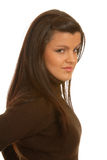 Attractive brunette angry face Stock Images