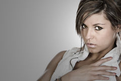 Attractive Brunette with Beautiful Dark Eyes Stock Image