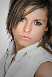 Attractive Brunette with Beautiful Dark Eyes Royalty Free Stock Photo