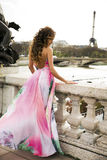 Attractive brunette beauty posing in Paris. Royalty Free Stock Image