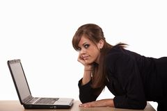 Attractive brunette caucasian business woman Stock Image