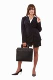 Attractive brunette caucasian business woman. In her twenties carrying briefcase Royalty Free Stock Photo