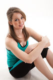 Attractive brunette caucasian fitness woman Royalty Free Stock Photos