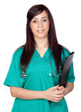 Attractive brunette doctor with clipboard Stock Photo