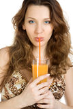 Attractive brunette drink juice Royalty Free Stock Image